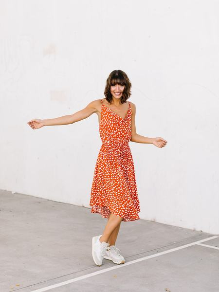 Pinch Dotted Pleat Dress - Red/White Polka Dots
