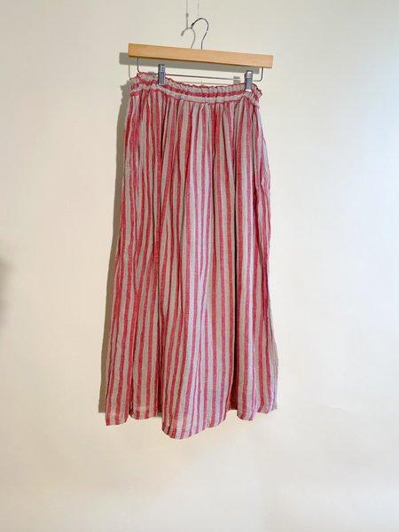 ICHI ANTIQUITES Linen Stripe Skirt - Natural/Red