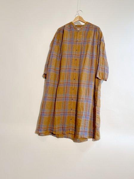 ICHI ANTIQUITES Linen Voile Madras Check Over Dye Dress