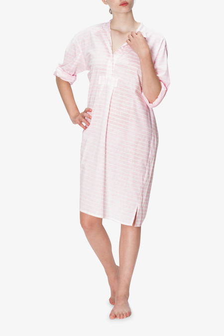 The Sleep Shirt Long Sleep Shirt Soft Pink Stripe