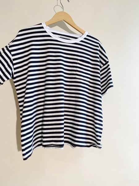 ICHI ANTIQUITES Stripe Border Cotton T-Shirt - White/Black