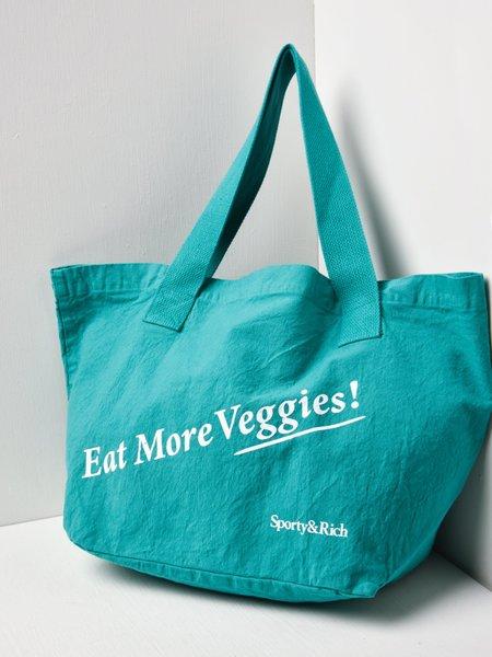 Sporty & Rich Eat Veggies Tote Bag - Blue