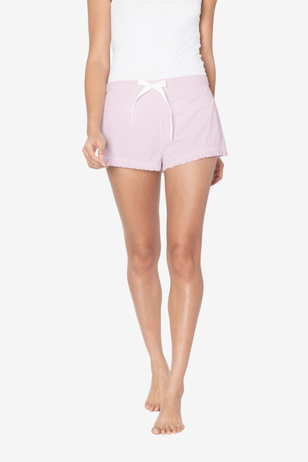 The Sleep Shirt Ruffle Short Pink Skinny Stripe