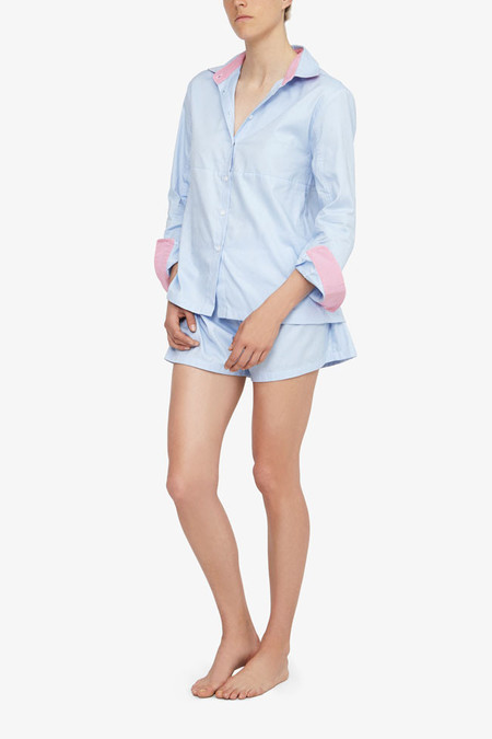 The Sleep Shirt Set - Button Down Top and Pleat Short Cambridge Oxford Pink Trim