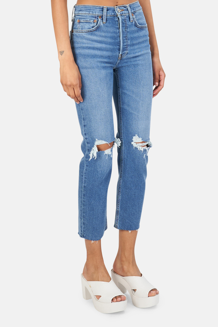 RE/DONE 70s Stove Pipe Jeans - Worn Rich Indigo