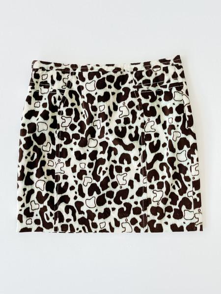 Vintage Mini Skirt - Abstract Cow Print