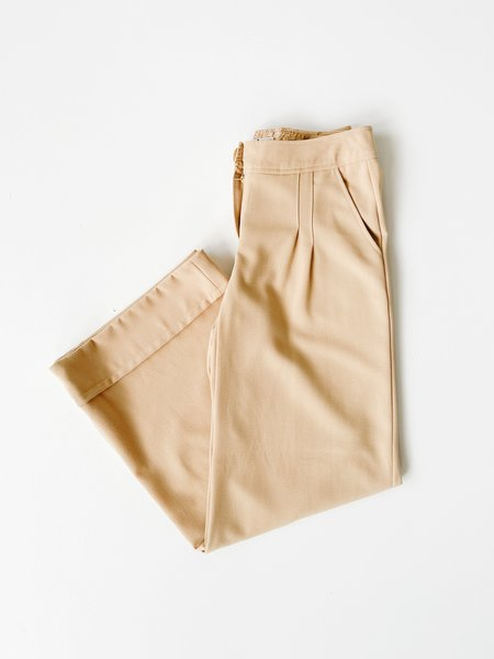 Vintage Wide Leg Pleated Pants - Beige
