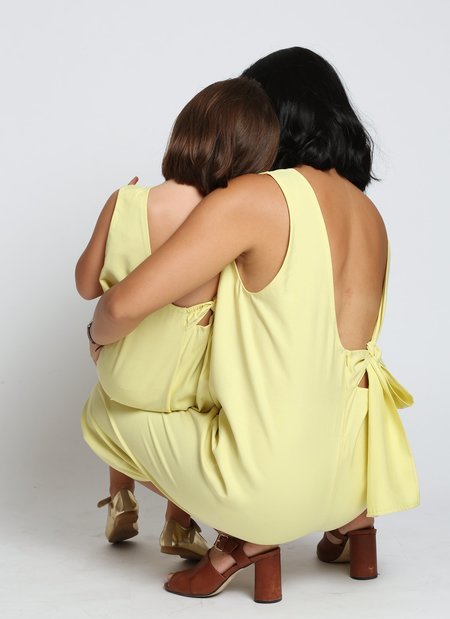 KIDS Cat Chu Back Knot Tie Onesie - Lemon