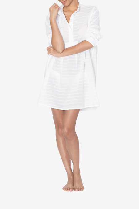 The Sleep Shirt Short Sleep Shirt White Sheer Stripe