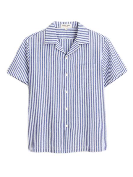 Alex Mill Striped Seersucker Camp Shirt - blue