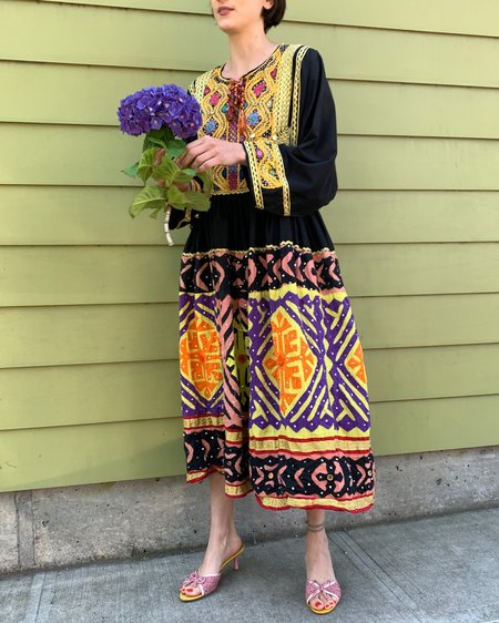 Vintage Antique Mirrored Quilted Dress - multi