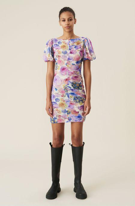 Ganni Mini Dress - Printed Mesh