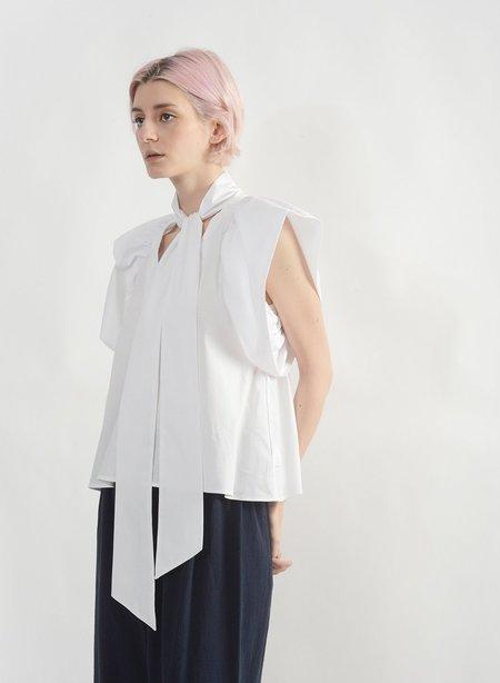Meg Ruffle Sleeve Tie Top - White
