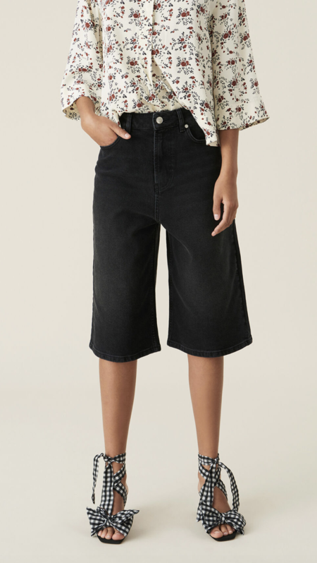 Ganni High Waist Wide Shorts - Black Denim
