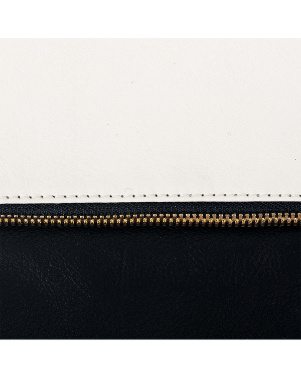 Clare Vivier Foldover Clutch in Two Tone Cream/Black