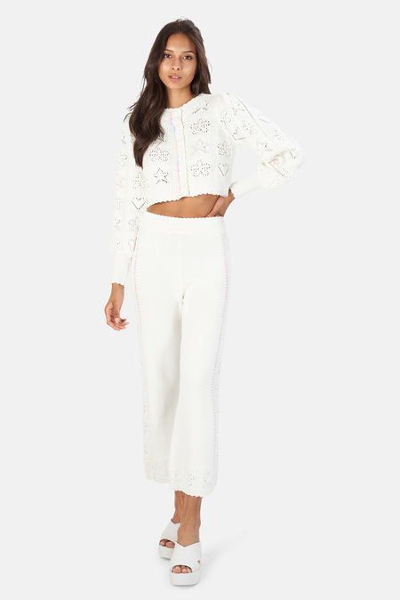 LoveShackFancy Lata Cropped Cardigan Sweater - Antique White