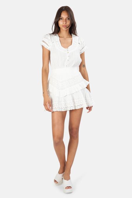 LoveShackFancy Jeromie Mini Dress - True White