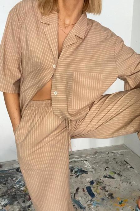Soft Focus The Lounge Short Sleeve Shirt - Tan Stripe