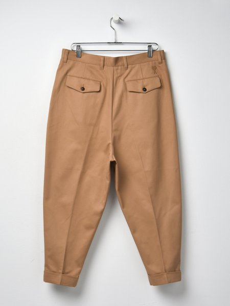 Ami Cotton Oversized Carrot Fit Trousers - Beige