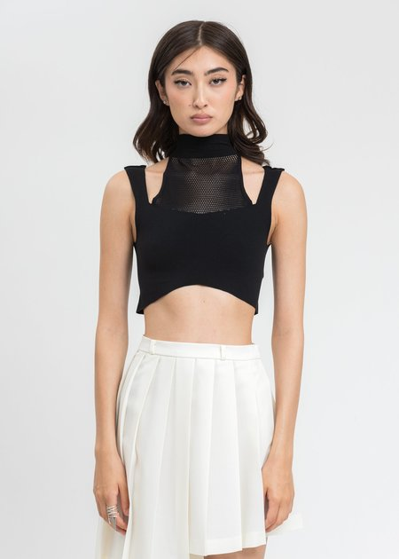 ESTH. High Neck See Thought Tank Top - Black