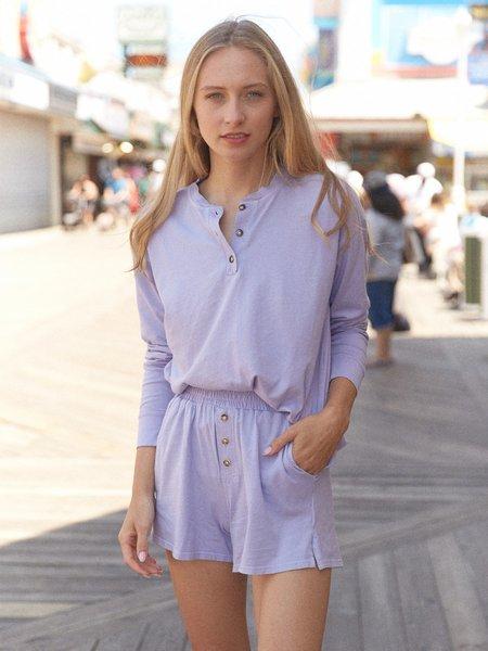 Donni. Henley Long Sleeve Tee - Purple