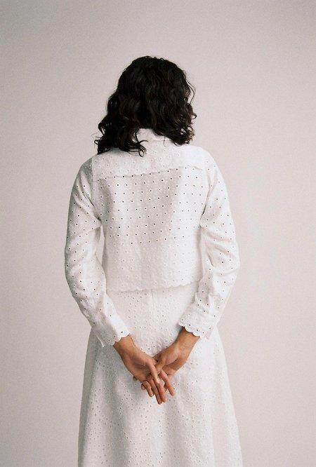 Sunshine Symbol Tilda crop shirt - WHITE
