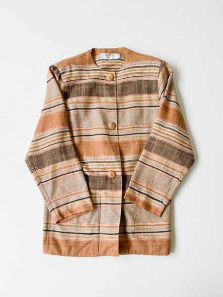Vintage Christian Dior Terra Cotta Woven Striped Blazer