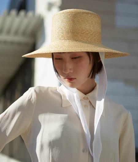 Clyde Medium Brim Flat Top Hat - Natural Straw/Neck Shade