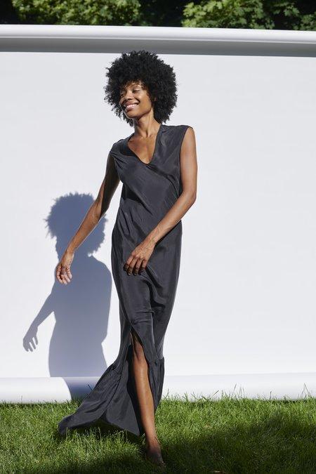 KES Cap Sleeve Slip Dress with Ruffle - Black