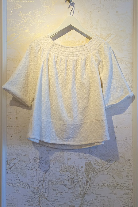 Current Elliott Embroidery Smocked Tee