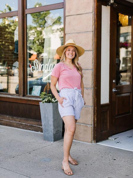 Thread & Supply Hillside Shorts - Blue/White Stripe Linen