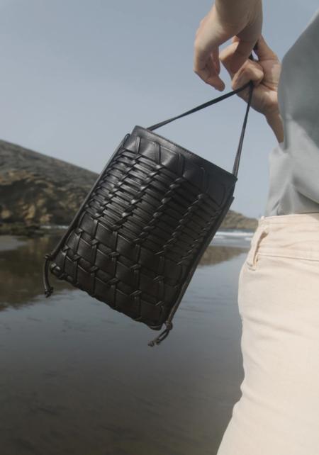 Hereu Trena Woven Leather Crossbody - Black