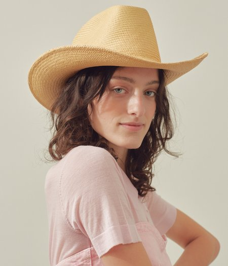 Clyde Panama Straw Cowboy Hat - Apricot