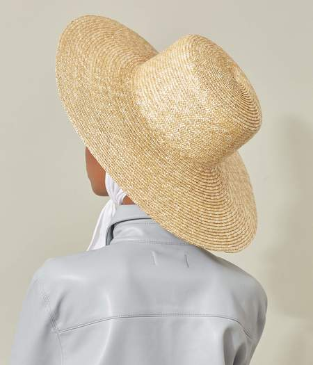 Clyde Wide Brim Flat Top Hat - Natural Straw/Neck Shade