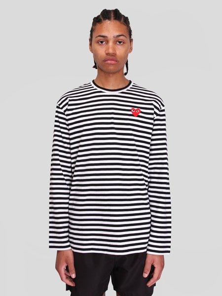 Comme des Garçons Play Red Heart Striped T-Shirt - Black/White Stripe