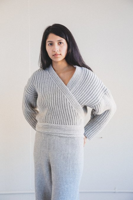 Baserange Mea Wrap Eco Wool Sweater - Light Grey