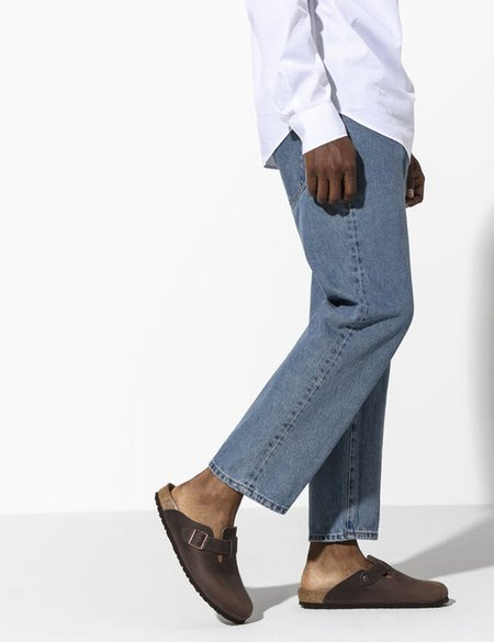 Unisex Birkenstock Boston Oiled Leather Regular Sandals - Habana Brown