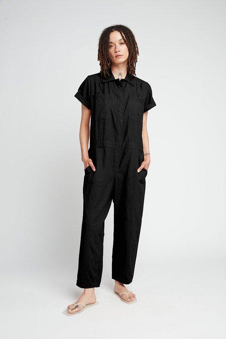 Back Beat Co. Naturally Dyed Linen Boiler Suit - Vintage Black