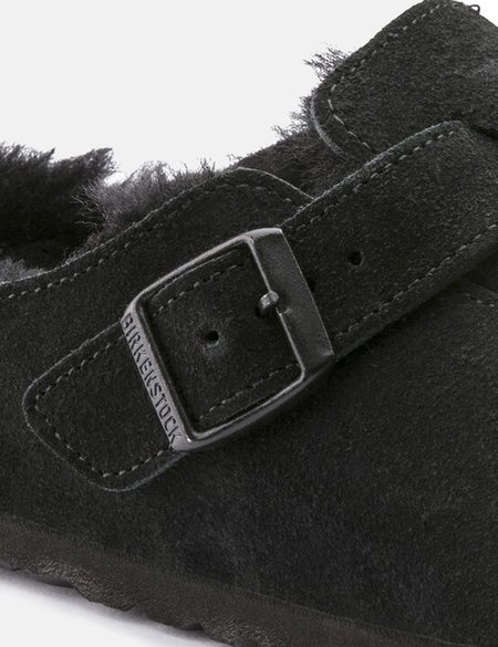 Birkenstock Boston Narrow Shearling Sandals - Black
