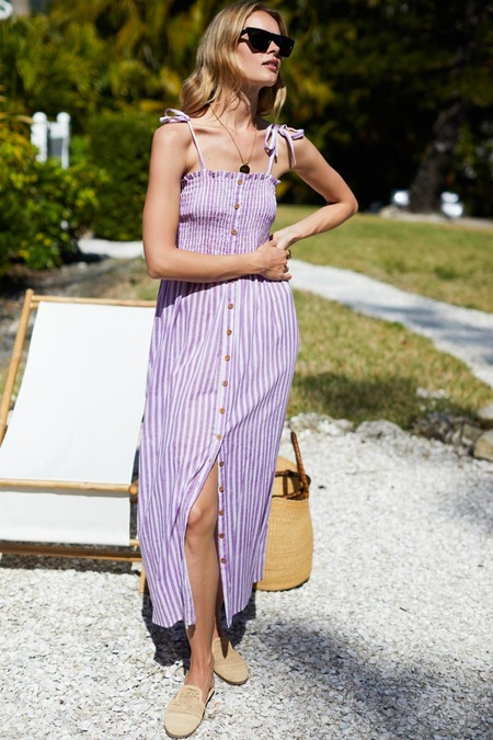 Emerson Fry Santiago Sundress - Lavender Stripe