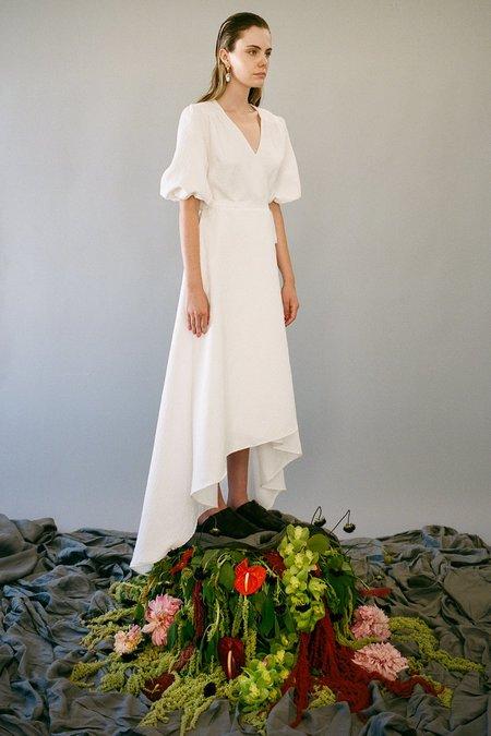KkCo Brocade Wrap Flower Jacquard Dress - Blanco