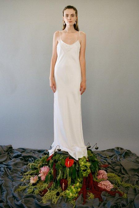 KkCo Long Silk Slip Dress - Pearl