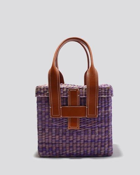 Rachel Comey Mini Straw Picnic Tote - Purple Multi