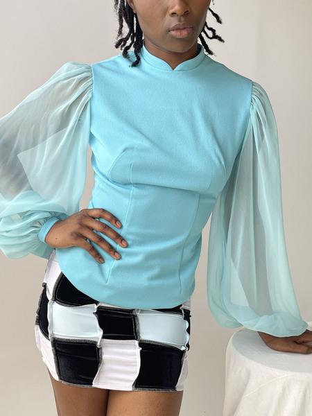 Vintage Sheer Bishop Sleeve Blouse - Aqua