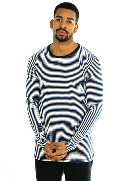 Zanerobe Stripe Flintlock LS Tee - White/Navy