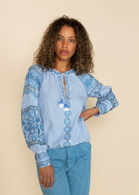 Rose and Rose Embroidered Sequin Top - Blue/White