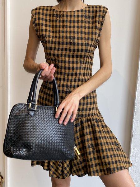 Vintage 1960s Drop Waist Dress -  Tan Gingham