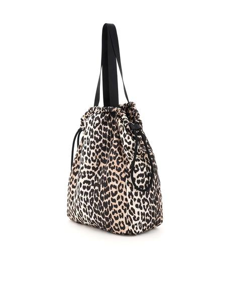 Ganni Fabric Tote Bag - Leopard Print