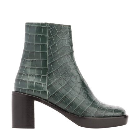 BY FAR Ellen Croco Embossed Leather Boots - Green
