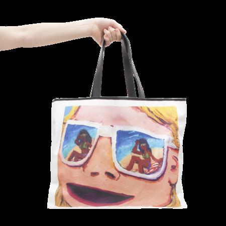 MSGM Graphic Print Woman in Shades Tote Bag - MULTI